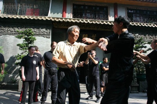 Ip Ching and Sam Kwok doing Chi Sao